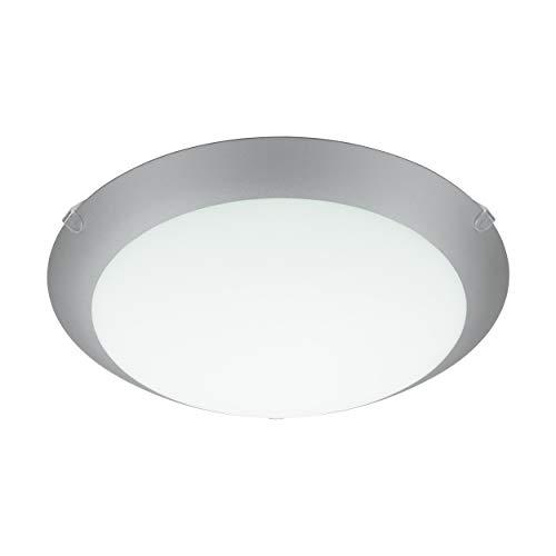 Eglo Mars 1 - Lampada da soffitto a 1 luce, in acciaio, colore: bianco, vetro bianco satinato con bordo argentato, attacco: E27