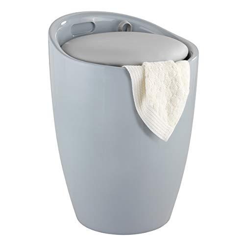 WENKO Hocker Candy Grey, mit Wäschesack - Wohnhocker, Badhocker, Wäschesammler mit abnehmbarem Wäschesack, Kunststoff (ABS), 36 x 50.5 x 36 cm, Grau