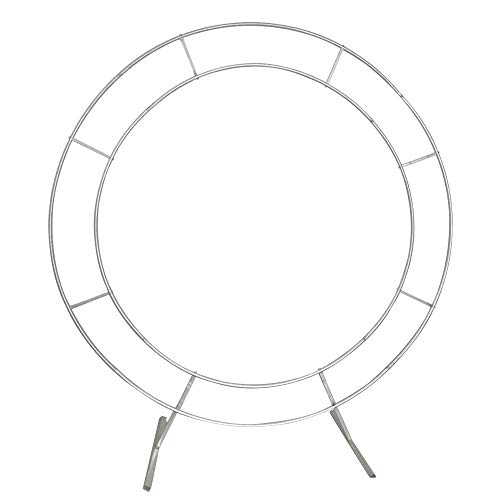 LOYALHEARTDY 2m Double Tube Round Wedding Stand Silver, Arch Framework Stand Metal Round Wedding Party Circular Floral Moon Archway Backdrop Romantic Venue Decor (2m/78.74inch)