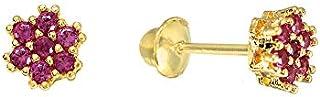 Brinco Flor Chuveiro Pequeno de Ouro 18k