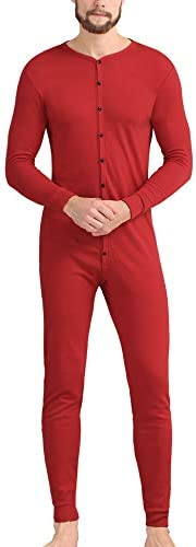 COLORFULLEAF Men s Cotton Thermal Underwear Union Suits Henley Onesies Base Layer Red S product image