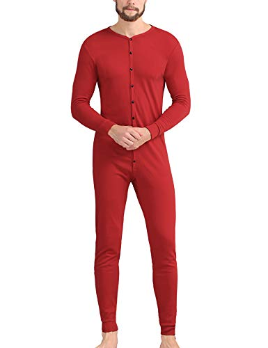 COLORFULLEAF Men's Cotton Thermal Underwear Union Suits Henley Onesies Base Layer (Red, M)