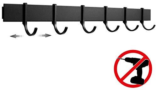 Designfabrik Hamburg | Hakenleiste Küchenleiste selbstklebend Hängeleiste Stange für Küchenutensilien | Küchenhalterung ohne Bohren | 6 bewegliche Haken | 40cm | Modernes Design Matt Schwarz