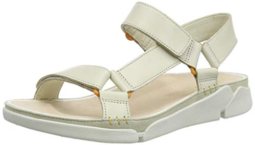 Clarks Tri Sporty, Sandali con Cinturino alla Caviglia Donna, Beige (White Leather White Leather), 38 EU