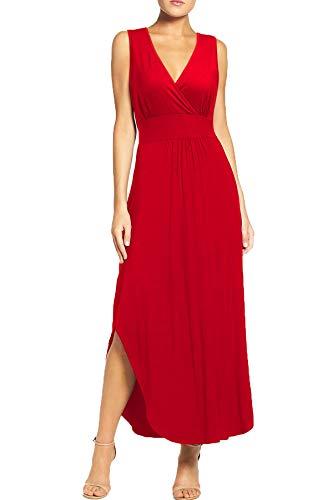 WOOSEA Women Sleeveless Deep V Neck Pocket Loose Long Dress Split Maxi Casual Dresses Red