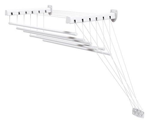 Gimi Lift 200 Stendibiancheria da Parete e Soffitto in Acciaio, 12 Metri Stendibili, Plastica, Bianco