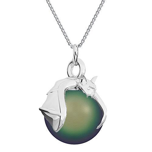 Crystals&Stones Mujer Niños Unisex Hombre plata de ley 925 plata redonda Pearl