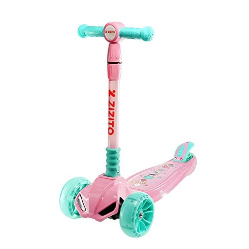Roller Kinder 3 Jahre Led-Beleuchtung Musik Scooter Roller Kinder Spielzeug Mädchen Kinderroller ab 3 Jahre...