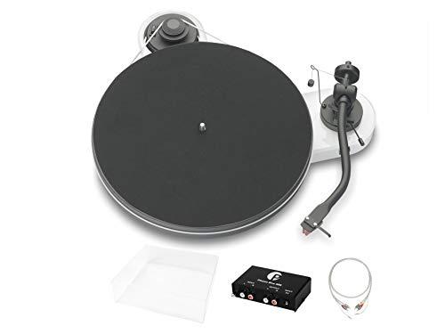 Pro-Ject RPM 1.3 Genie Superpack, Audiophiles Einsteigerset mit Plattenspieler, Phonovorstufe, Abdeckhaube und Kabel, Weiß