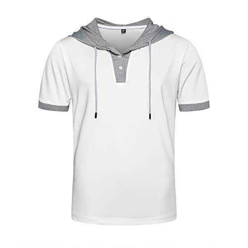 LBL – Camiseta con capucha para hombre, manga corta, casual, deportiva, color chic Gris claro. Large