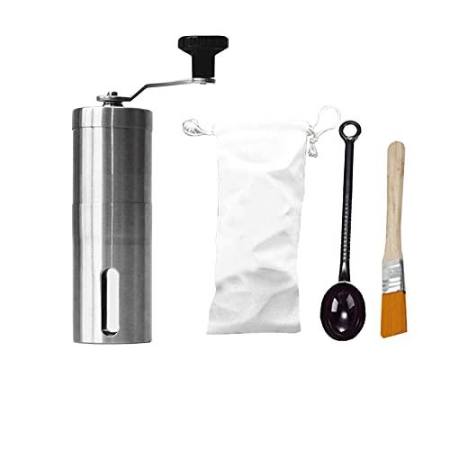 WXZX Molinillo De Café Manual Compacto 40 G, Molinillo De Café Y Especias Acero Inoxidable, Lavable Cereales Molino, Rodamiento Doble Fijo, para Ajustar El Molido Grueso Y El Molido Fino