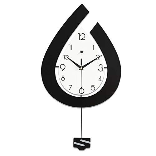 JIEJIELL Lágrima-Forma Reloj de Pared,Silencioso Despertador de Cuarzo con Péndulo,Reloj Industrial Europeo para Casa Oficina Escuela Dormitorio Salón-Negro+Blanco 39x73cm