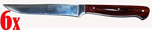 6x Zweibrüder Eisvogel - Auslöser Messer Küchenmesser Pakka-Holzgriff