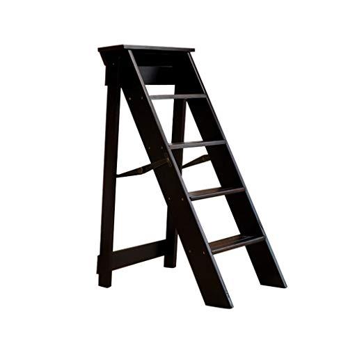 Klapptreppe Klapptritt Klappstufen Tritthocker Trittleiter 4 Stufen Holz - Sicherheit Rutschfeste Leiter Hocker - Leicht und Faltbar Leiterregal 300 lbs Kapazität