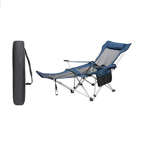 WSDSX Silla Plegable reclinable Silla de Campamento Plegable reclinable, Sillón de Malla con portavasos y Bolsa de Almacenamiento, Silla con pasamanos para Acampar y Pescar en la Playa