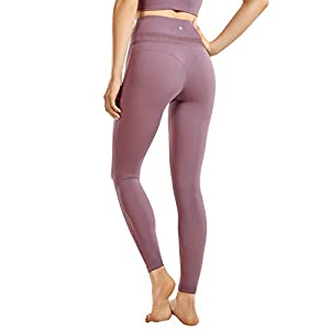 CRZ YOGA Women's Reflective High Waisted Workout Leggings Pants Naked Feeling Soft – 25 Inches