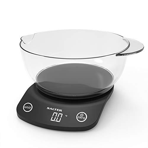 Salter 1074 BKDR Balance de cuisine digitale avec bol – Compacte et facile à lire - Compatible Lave-vaisselle - Fonction Tare