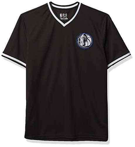 Ultra Game NBA Dallas Mavericks Mens Jersey V-Neck Mesh Short Sleeve Tee Shirt, Black, Large