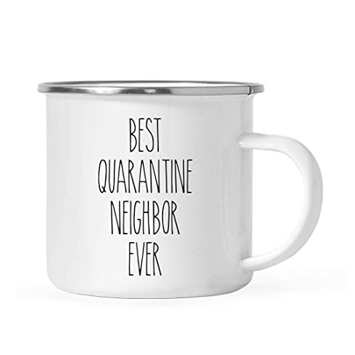 Andaz Press Funny Quarantine 11oz. Stainless Steel Campfire Coffee Mug Gift, Best Quarantine Neighbor Ever, 1-Pack, for Birthday Gift Ideas, Self Isolation Social Distancing Pandemic Virus