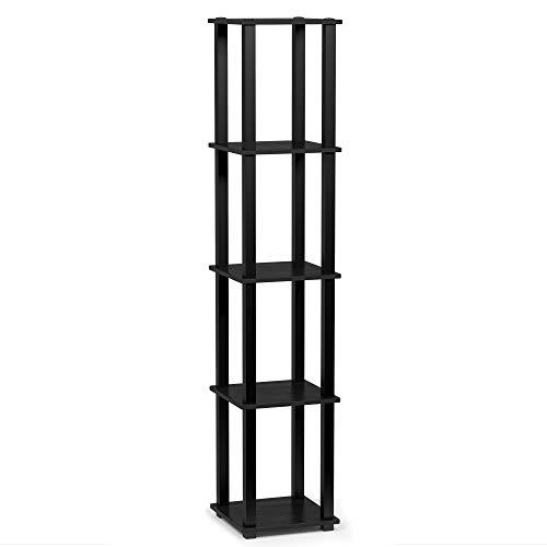 FURINNO TurnSTube 5Tier Corner Square Rack Display Shelf Americano/Black
