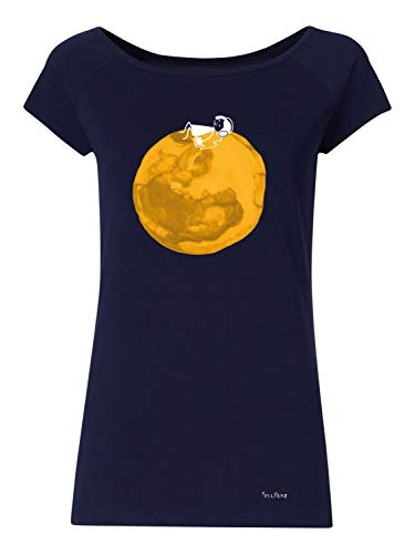 FellHerz Moon Girl dunkelblau - Damen T-Shirt Bio & Fair aus 100% Bio-Baumwolle und unter fairen Bedingungen hergestellt, nachhaltig, vegan, ökologisch, alternativ, natürlich, vielseitig (M)