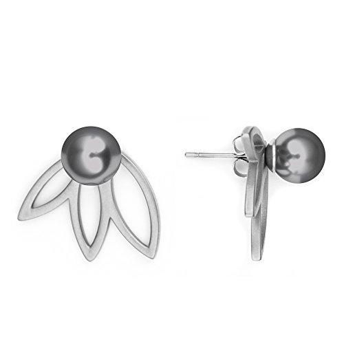 Heideman Ohrringe Damen Flora 3 aus Edelstahl silber farbend poliert Ohrstecker für Frauen 2 in 1 Doppelstecker mit Swarovski Perle grau rund 8mm