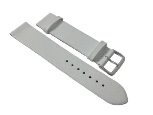 20mm Weiches Kalbsleder Uhrenarmband Weiß Silberfarbende Dornschließe inkl. Myledershop Montageanleitung