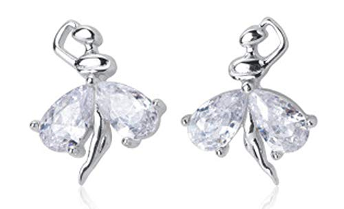 Crystal Ballet Dancer Sterling Silver Stud Earrings for Women Little Girls CZ Nickel Free Tiny Small Dancing Ballerina Cartilage Cuff Tragus Lucky Post Dainty Cute Jewelry Gifts for Daughter