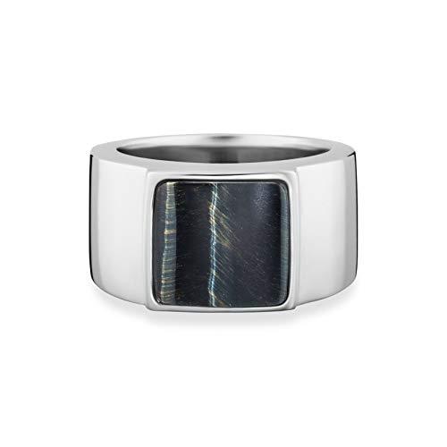 Baldessarini Herren-Ring 925 Silber rhodiniert schwarz lackiert Tigerauge blau 62 (19.7) - Y2121R/90/AG/62