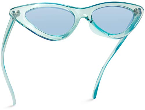 WearMe Pro - Retro Vintage Tinted Lens Cat Eye Sunglasses (Clear Blue Frame / Tinted Blue Lens, 51)