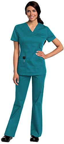 Landau All Day Women's Medical Uniforms Scrubs Set Bundle- 4143 Modern Y Neck Top & 2035 Elastic Waist Cargo Pants & MS Badge Reel (Teal - X-Large/XL Tall)