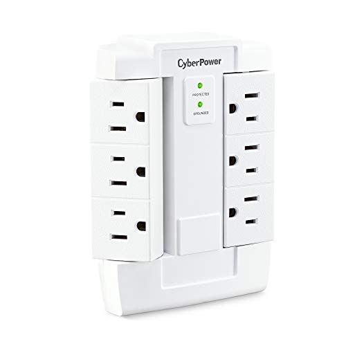 CyberPower CSB600WS Surge Protector, 900J/125V, 6 Swivel Outlets, Wall Tap, White, 8.30in. x 4.10in. x 3.00in.