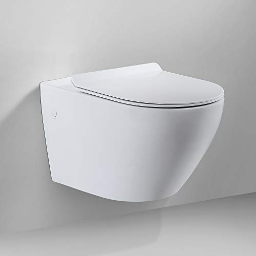 WC - Toilette | Wand WC · Spülrandlose Toilettenschüssel · inkl. Toilettendeckel mit Absenkautomatik | Burgtal 18011