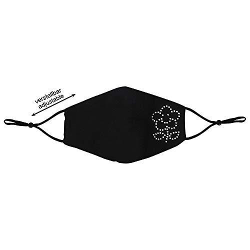 Shirt-Panda Stoffmaske · Strass · Stein · Steinchen · Edelstein · Mundschutz mit verstellbaren Ohrschlaufen · Mundschutzmaske aus Stoff · Mit Strassssteinchen · Blume