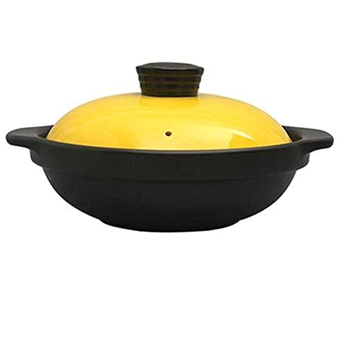 Olla de Barro para cocinar, Olla de Terracota, diseño de Borde de Olla Elevado, Mango de cerámica Resistente a Altas temperaturas, diseño de Orificio de Aire íntimo, Cocina de 2.1L