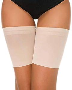 Voqeen Bandas de Elásticas elástico Anti-Chafing Bandas para Hombre y Mujer Muslo Previene las Rozaduras Bandas Antirozaduras Muslos (Skin, E: 62-70cm)