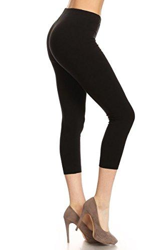 NCL27-Black-3X Premium Cotton Soft Solid Capri Pants Made in USA