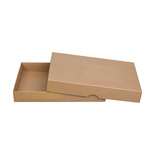 Braune Faltschachtel, 13 x 18 cm, Füllhöhe 25 mm, mit Deckel, Kraftpapier, Kraftkarton, Geschenkschachtel, Fotoschachteln - 10er Pack