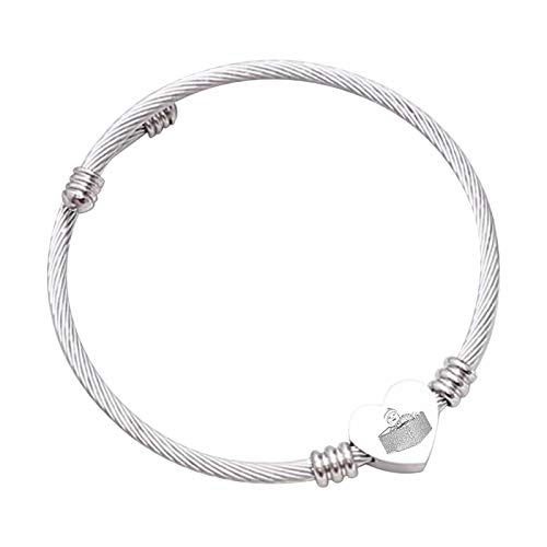 Pulsera de amor Pulsera de foto personalizada Versión de pulsera de plata Pulsera de texto grabado Pulsera de moda para novia(Talla de boceto de plata 8.3IN=21cm)