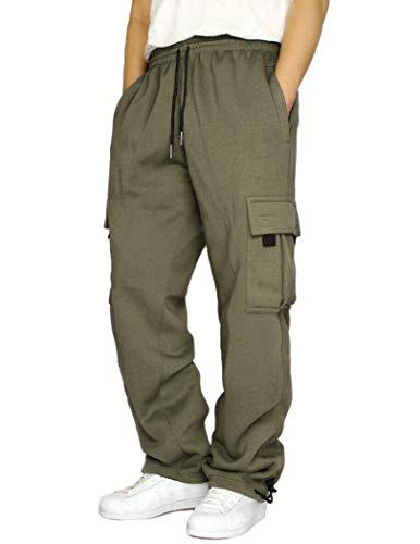 COOFANDY Men's Elastic Waist Pants Casual Regular Fit Workwear Cargo Pants Army Green