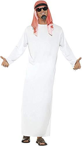 Smiffys-24805M Disfraz de jeque, con tnica Larga y Tocado, Color Blanco, M-Tamao 38'-40' (Smiffy'S 24805M)