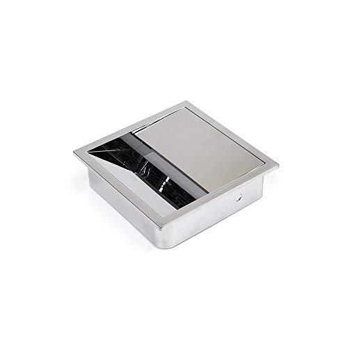 Emuca - Tappo passacavi quadrato 85x85mm da incasso in scrivania/tavolo, organizzatore cavi per mobile, plastica colore Cromato