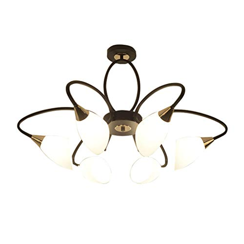 Plafondlamp LED-woonkamer slaapkamer eetkamer Amerikaanse smeedijzeren lampen 6 koppen E14 zwart