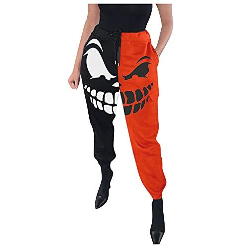 Eauptffy Leggings para mujer, elásticos, para Halloween, esqueleto, estampados, fantasma, gótico, para tiempo libre, fitness, yoga, etc., amarillo1, L