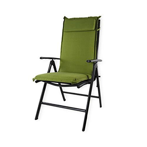Nordje Gartenmöbelauflage | 120x50x8 cm | Hochlehner | mit Kopfkissen | Top Qualität Produkt | Sitzkissen Outdoor (Grün)
