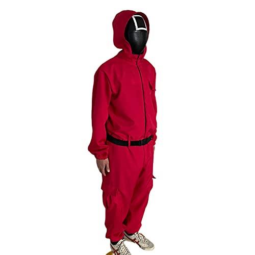 Disfraz de Juego de Calamar Cosplay de una Pieza con cinturón, Mono Unisex, Mono, Disfraz de Halloween para Hombres, Mujeres, niños