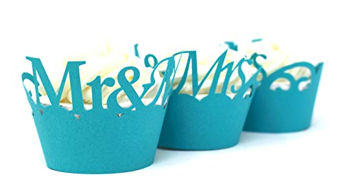 All About Details Mr & Mrs Cupcake Wrappers, Set of 12 (Teal)