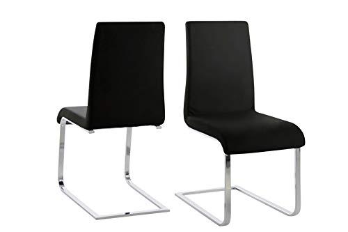 Amazon Brand - Movian Mures - Juego de 2 sillas de comedor, 61 x 44 x 96,5cm, negro