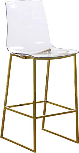 Meridian Furniture Lumen Collection Modern Contemporary Acrylic Counter Stool with Stainless Steel Base, 16.5