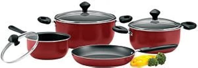Prestige Aluminum Non-Stick Cookware Set of 7-Piece, Red PR21568